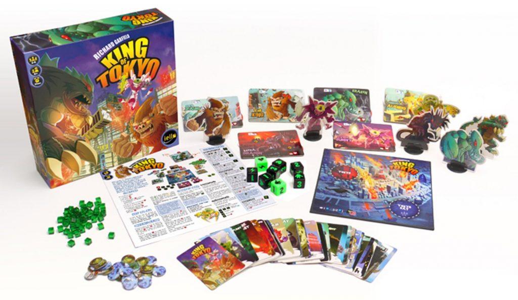 Caixa, componentes e tabuleiro do jogo King of Tokyo