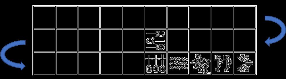 Visão superior do tabuleiro de Senet